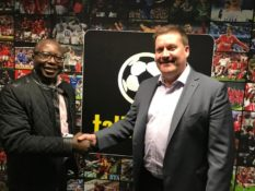 Radio Africa Group CEO Patrick Quarcoo and talkSPORT's Rob Tomalin after signing a deal to broadcast EPL matches live.