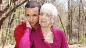Young man dating an old woman