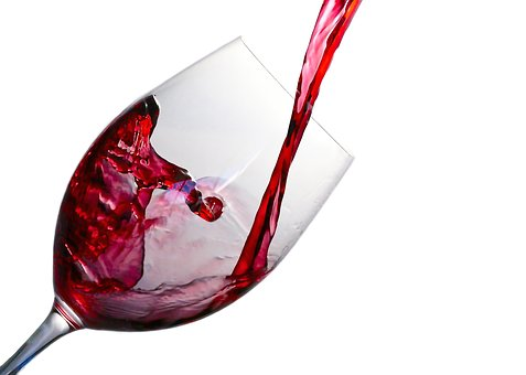 Wine decanted in a glass