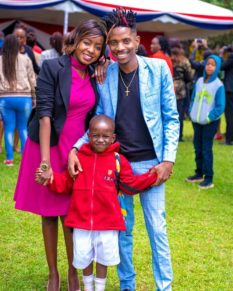 Eric Omondi with Jacque Maribe and their son